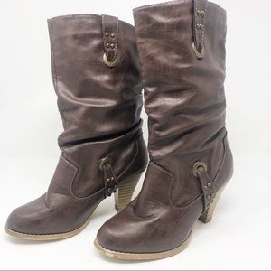 RAMPAGE | Immi Brown Slouchy Heeled Western Boots